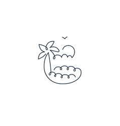 continuous one line icon sea landscape vector image