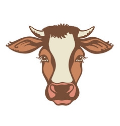 Cow head farm animal color graphic vector