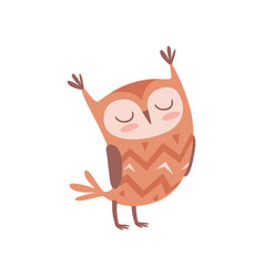 cute cartoon owlet bird character standing with vector image