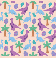 cute dinosaurs and tropic plants funny cartoon vector image