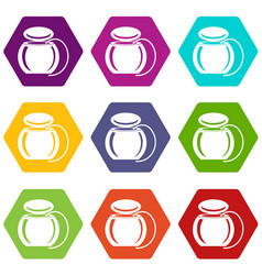 dental floss icons set 9 vector image