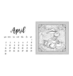 Desk calendar template for month April vector