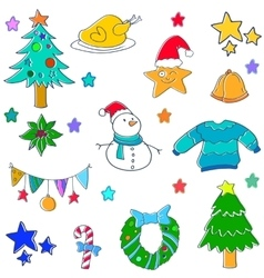 Doodle of cute christmas set vector image