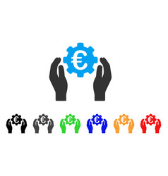 euro industry care hands icon vector image