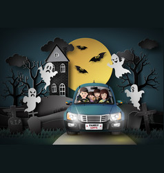 family driving in car with ghost vector image