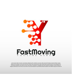 Fast moving logo with initial y letter concept vector