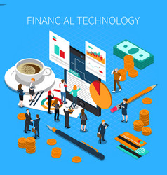 financial technology isometric composition vector image