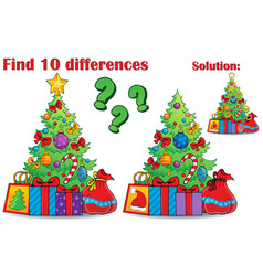 Find differences christmas theme vector