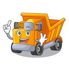 Finger character truck dump on trash construction vector