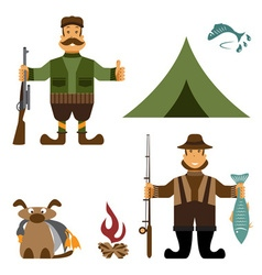 Flat design with fisherman and hunter icons vector