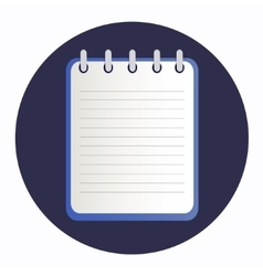 Flat icon blue notebook vector image