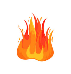 Flat icon of hot blazing flame isolated on vector