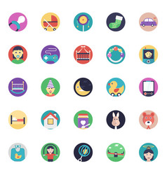 Flat icons set baand kids vector