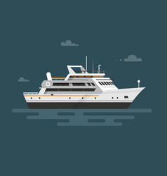 flat motor yacht boat vector image