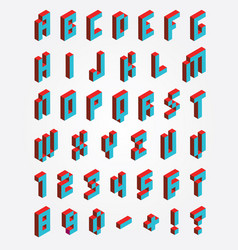 Fonts pixel isometric vector