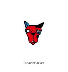 Funny head cat color 2 vector