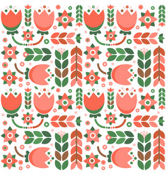 Geometric floral pattern with folklore ornament vector