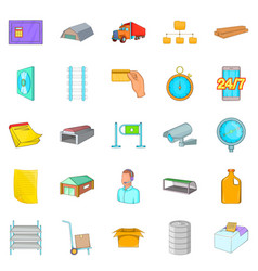 goods storage icons set cartoon style vector image