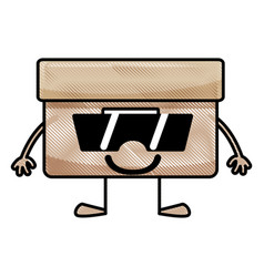 grated happy box archive kawaii with arms and legs vector image