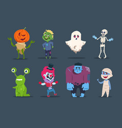 Halloween characters cute monsters and kids vector