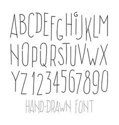 Hand-drawn letters and digits isolated on white vector