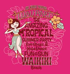 hawaiian luau summer party hula dance vector image