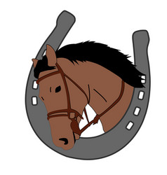 Horse head in horseshoe logo design vector