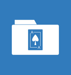 Icon playing card on folder vector