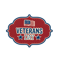 isolated retro veteran day label vector image