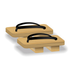 Japan geta shoes footwaer on white background vector