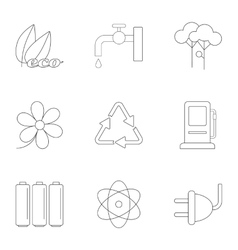 Kind of energy icons set outline style vector