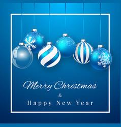luxury christmas design with blue christmas balls vector image