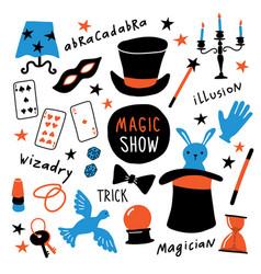 Magician equipment collection magic elements vector