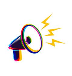 megaphone in cmyk style vector image