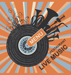 menu with vinyl record and music instruments vector image