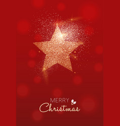 Merry christmas gold glitter star greeting card vector