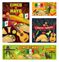 mexican guitars sombreros cinco de mayo party vector image