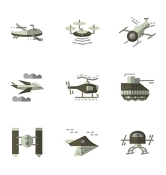 Military drones flat icons set vector