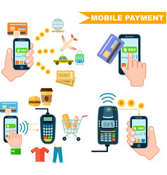 Mobile payment set in flat design vector
