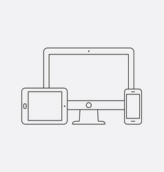 Modern digital devices thin line icon vector
