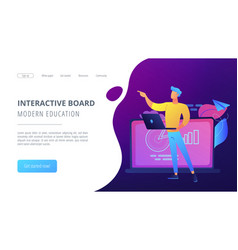 modern education and interactive board landing vector image