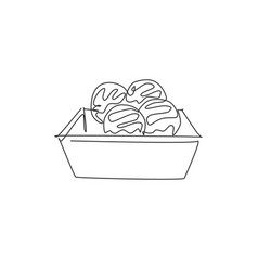 One single line drawing fresh japanese vector