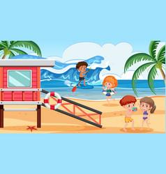 People at summer beach holiday vector