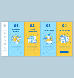 Personal hygiene onboarding mobile app page vector