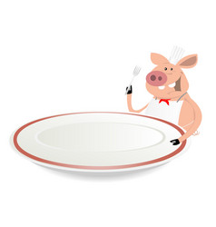 Pig cook showing menu on dishware vector