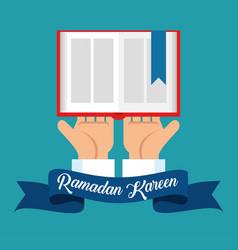 Ramadan kareem card with sacred book vector