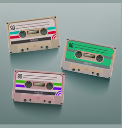 realistic set cassette isolated on grey background vector image