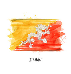 realistic watercolor painting flag of bhutan vector image
