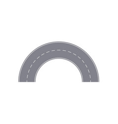 Round turn of road isolated street map segment vector