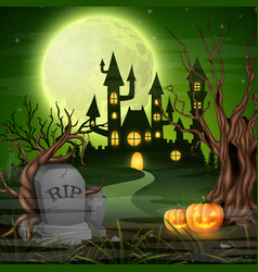 scary castle with pumpkins on the full moon vector image